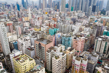 Top view of Hong Kong city in the evening