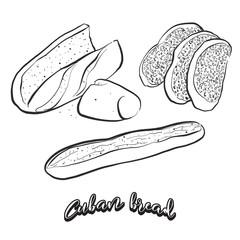 Hand drawn sketch of Cuban bread