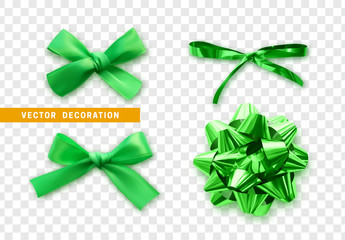 Green bows ribbon on transparent background. Bow isolated realistic decorations of satin material and fabric.