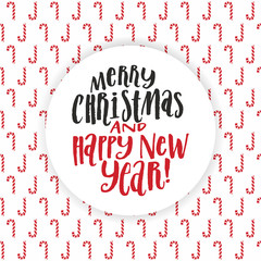Merry Christmas nad happy new year hand lettering inscription