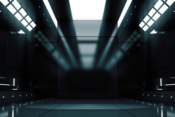 Futuristic tunnel with light. Spaceship corridor interior view.Future background, business, sci-fi or science concept. 3D Rendering.