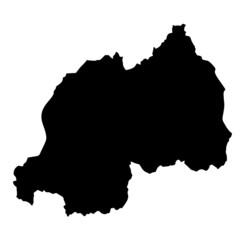 Black map country of Rwanda
