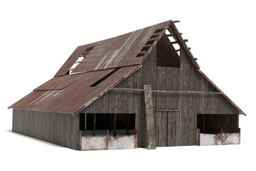 3d illustration of a rustic barn