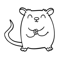 line drawing cartoon happy mouse