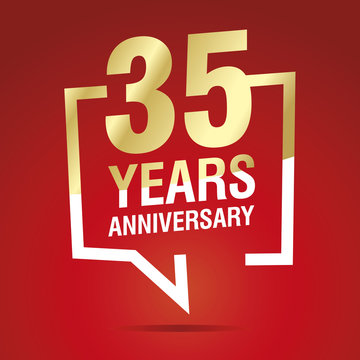 35 Years Anniversary celebrating gold white red logo icon