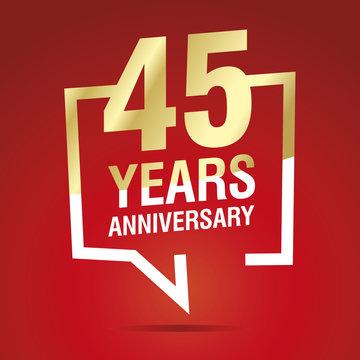 45 Years Anniversary celebrating gold white red logo icon