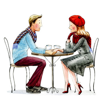 Young man and women sitting in cafe. Watercolor illustration.