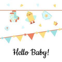 Vector Illustration. Poster for the kid's birthday with text ''Hello Baby!''. Design template card with hand lettering for baby shower. Garlands and cute accessories.