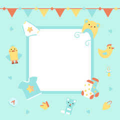 Vector Illustration. Template background with frame for baby's photo. Poster for kid's birthday, baby shower. Garlands and cute accessories for boy.