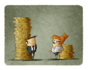 Gender wage difference concept. Illustration of a man and a woman next to two stacks of coins of different size