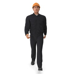 Worker In Black Uniform with Hardhat Walking Pose. 3D illustration
