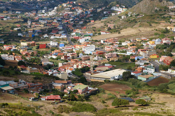 aerial view on small village in rural landscape -