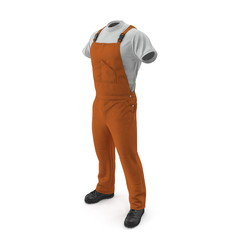 Orange Workwear Overalls Isolated On White Background. 3D Illustration