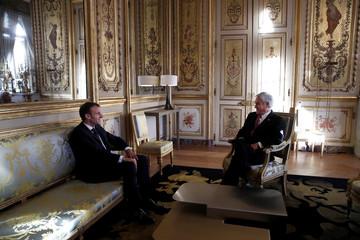 French President Emmanuel Macron meets Chilean President Sebastian Pinera in Paris