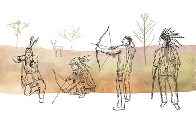 Vector objects set. Native Americans. Men on the hunt. Pen style drawing.