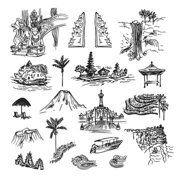Drawing sketch elements, buildings and places of Bali island. Unique cultural collection with temples, palm, objects and nature.