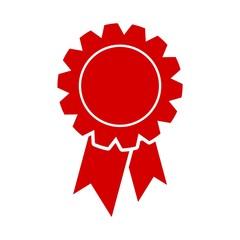 Red badge with ribbons icon, Award ribbon symbol