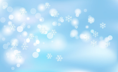 Christmas, New Years chaotic blur bokeh of light snowflakes on background blue. Vector illustration for design and decorating