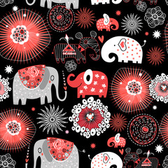 Vector graphic seamless pattern with love elephants
