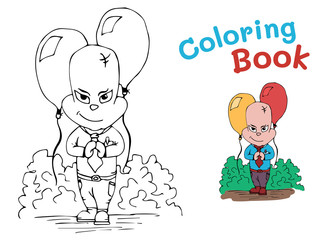 A little boy with balloons at the Festival. A coloring book for children. Vector illustration
