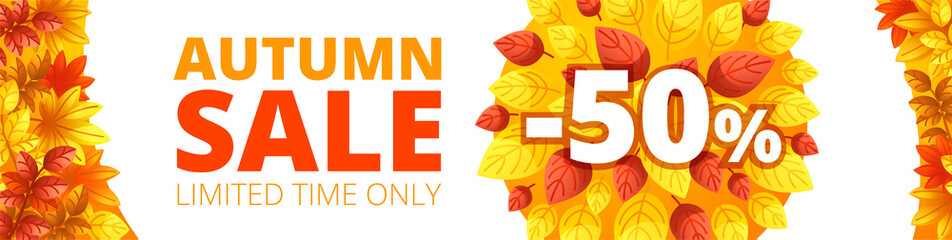 Autumn sale banner horizontal. Cartoon illustration of vector autumn sale banner horizontal for web design