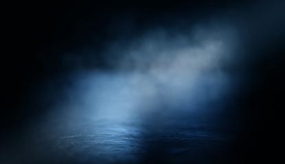 Background of an empty dark room. Empty walls, lights, smoke, glow, rays Fotomurales