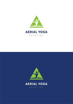 Aerial yoga logo template.