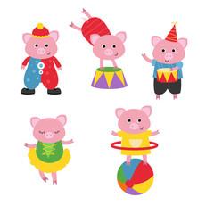 Set of circus animals.