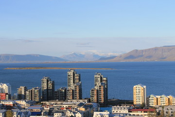 Reykjavek Skyline Bay and Snowy peaks