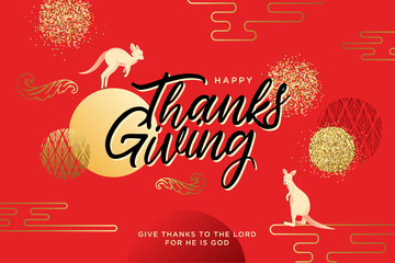 Hand drawn Happy Thanksgiving lettering typography poster. Celebration quotation for postcard, greeting card, icon, invitations, logo or badge. Vector gold glitter ornate calligraphy text with floral