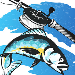 Fishing rod and fish on the waves