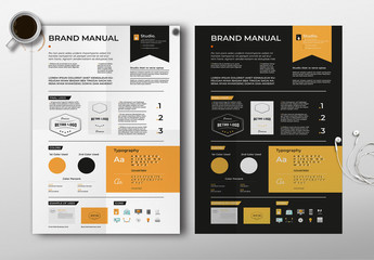Light and Dark Brand Guidelines Poster Layout Set