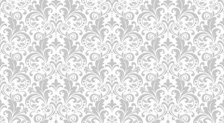 Wallpaper in the style of Baroque. Seamless vector background. White and grey floral ornament. Graphic pattern for fabric, wallpaper, packaging. Ornate Damask flower ornament. Wall mural