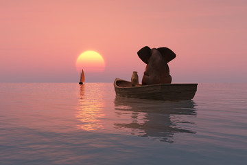 elephant and dog are floating in a boat at sunset