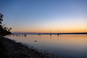Evening at lake Ammersee in Bavaria