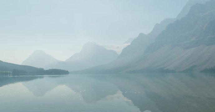 Bow lake in smoke, Banff national park, Alberta, Canada