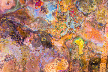 A fantastic and surreal picture of corrosion on a copper-coated steel sheet