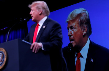 U.S. President Donald Trump speaks at the International Association of Chiefs of Police Annual Convention at the Orange County Convention Center in Orlando