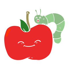 flat color style cartoon apple and bug