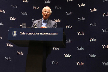 William D. Nordhaus, a professor at Yale University, attends a news conference after winning the 2018 Nobel Economics Prize, at Yale University in New Haven