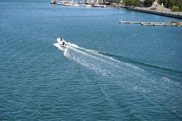 Motor boat driving.