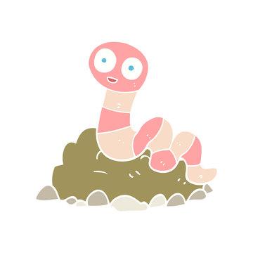 flat color illustration of a cartoon earthworm