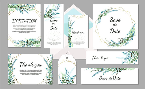 Set Wedding invitation vintage card with leaves and geometric frames. Vector illustration