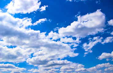 texture of blue sky with white clouds and flocks of birds