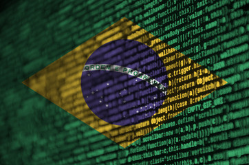 Foto op Canvas Brazilië Brazil flag is depicted on the screen with the program code. The concept of modern technology and site development