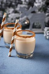 Traditional Christmas winter drink eggnog in glasses