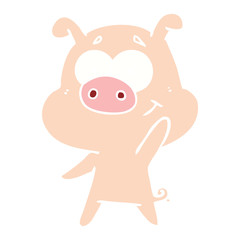 happy flat color style cartoon pig