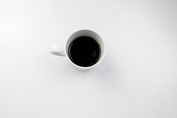 cup of coffee from top view isolated