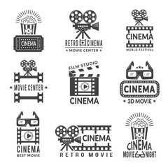 Video labels set. Cinema production badges in monochrome style. Cinema film center, movie and entertainment, production cinematography, vector illustration