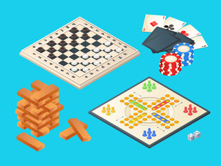 Board games. Vector isometric pictures of various boards games. Table game, block pyramid, checkers and play cards illustration